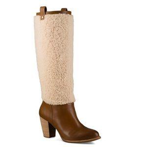 UGG Ava Sheepskin and Leather Tall Boots NIB